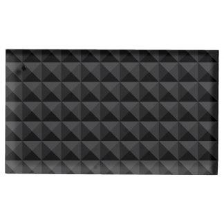 Suporte Para Cartão De Mesa Teste padrão geométrico moderno do quadrado preto