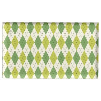 Suporte Para Cartão De Mesa Teste padrão geométrico verde retro de Argyle