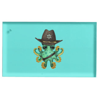 Suporte Para Cartao De Mesa Xerife verde bonito do polvo do bebê