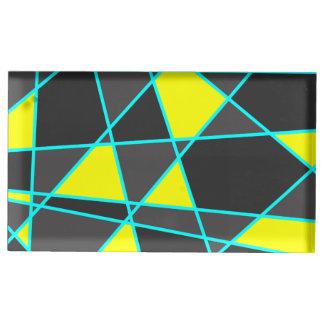 Suporte Para Cartoes De Mesa amarelo de néon brilhante geométrico elegante e