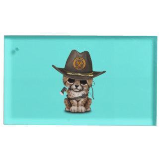 Suporte Para Cartões De Mesa Caçador bonito do zombi de Cub da chita