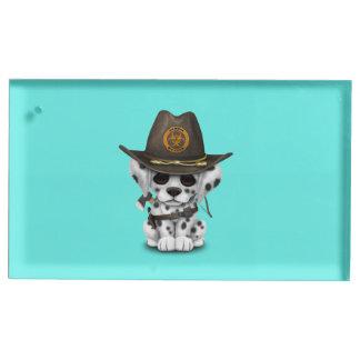 Suporte Para Cartões De Mesa Caçador Dalmatian bonito do zombi do filhote de