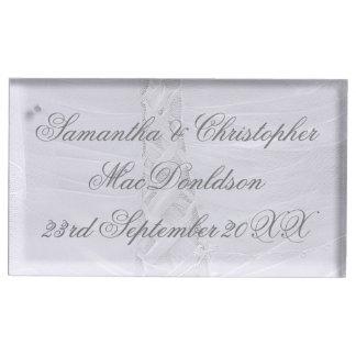 Suporte Para Cartões De Mesa Casamento branco atado planície do vestido de