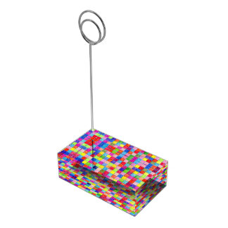 Suporte Para Cartões De Mesa Colorido colorido em quadrados do papel de gráfico