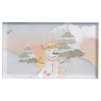 Suporte Para Cartões De Mesa Ilustração animal do animal da neve do boneco de