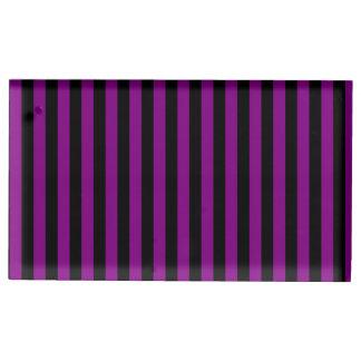 Suporte Para Cartões De Mesa Listras finas - preto e roxo