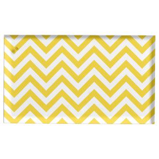 Suporte Para Cartões De Mesa O ziguezague amarelo e branco listra o teste
