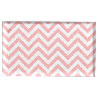Suporte Para Cartões De Mesa O ziguezague cor-de-rosa e branco listra o teste