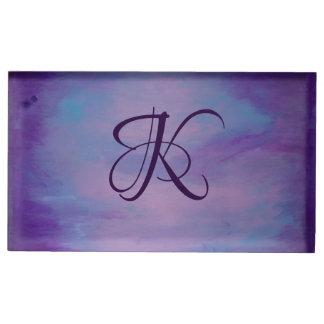 Suporte Para Cartoes De Mesa Pastel cor-de-rosa azul roxo | do monograma