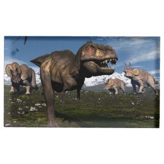 Suporte Para Cartoes De Mesa Rex do tiranossauro atacado pelo dinossauro do