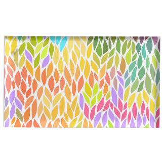 Suporte Para Cartões De Mesa Teste padrão colorido bonito das folhas