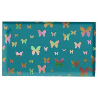 Suporte Para Cartões De Mesa teste padrão de borboleta cor-de-rosa do ouro do
