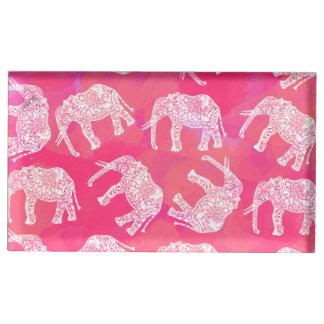Suporte Para Cartões De Mesa teste padrão floral tribal colorido cor-de-rosa