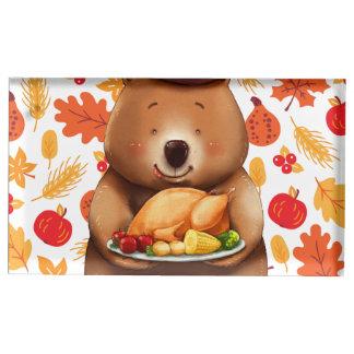 Suporte Para Cartões De Mesa urso do pilgram com fundo festivo