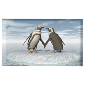 Suporte Para Cartões De Mesas Casal dos pinguins