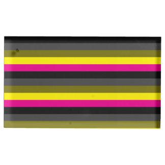 Suporte Para Cartoes De Mesas cinza amarelo de néon na moda fresco da parte