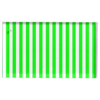 Suporte Para Cartões De Mesas Listras finas - brancas e verde elétrico