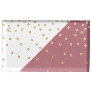 Suporte Para Cartões De Mesas rosa empoeirado das bolinhas elegantes do brilho
