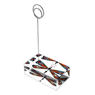 Suporte Para Cartões De Mesas Titular do cartão da mesa da libélula do vitral
