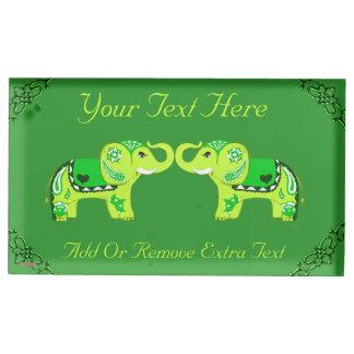 Suportes Para Cartao De Mesa Elefante do Henna (verde/verde limão)