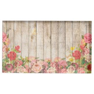 Suportes Para Cartao De Mesa Rosas românticos rústicos do vintage de madeira