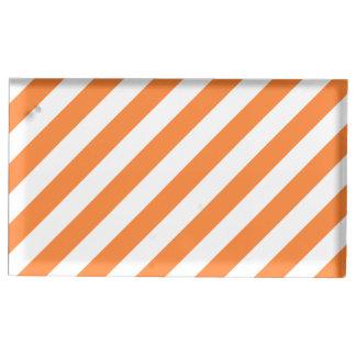 Suportes Para Cartão De Mesa Teste padrão diagonal alaranjado e branco das