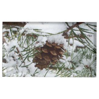 Suportes Para Cartoes De Mesa Cone nevado do pinho mim