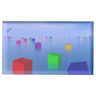 Suportes Para Cartões De Mesa Cubos coloridos que flutuam - 3D rendem