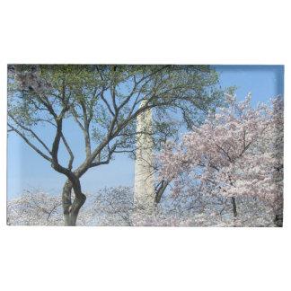 Suportes Para Cartões De Mesa Flores de cerejeira e o monumento de Washington na