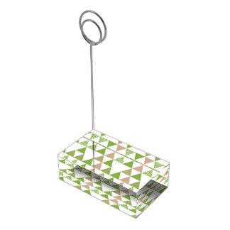 Suportes Para Cartões De Mesa Mosaico geométrico do triângulo verde das