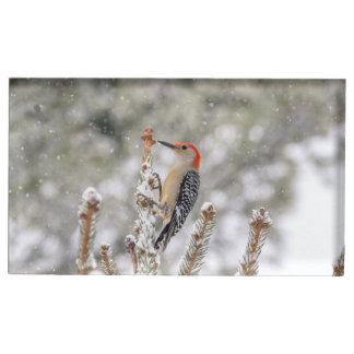 Suportes Para Cartoes De Mesa pica-pau Vermelho-inchado na neve