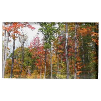 Suportes Para Cartões De Mesa Queda na fotografia colorida do outono da floresta