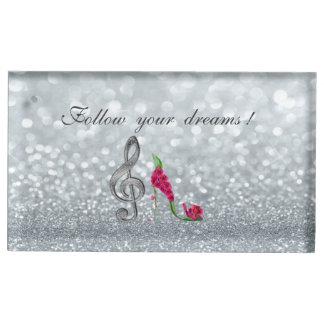 Suportes Para Cartões De Mesa Siga seus sonhos, Glittery, saltos, chave Violine