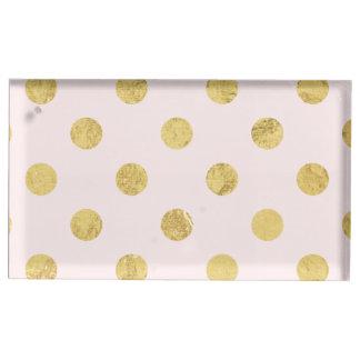 Suportes Para Cartoes De Mesa Teste padrão de bolinhas elegante da folha de ouro