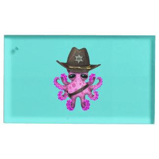 Suportes Para Cartoes De Mesa Xerife cor-de-rosa bonito do polvo do bebê