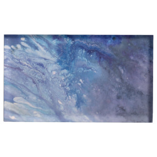 Suportes Para Cartões De Mesas Água branca azul triste da onda da pintura do