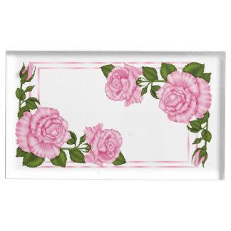 Suportes Para Cartões De Mesas Aniversário de canto cor-de-rosa bonito dos buquês