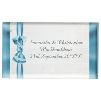 Suportes Para Cartões De Mesas Arco azul Pastel e casamento tradicional branco