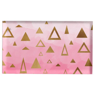 Suportes Para Cartoes De Mesas brushstrokes geométricos do rosa pastel dos