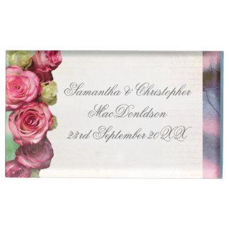 Suportes Para Cartoes De Mesas Casamento floral e de prata da flor do rosa do