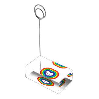 Suportes Para Cartoes De Mesas Coração do arco-íris