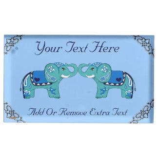 Suportes Para Cartoes De Mesas Elefante do Henna (azul/luz - azul)