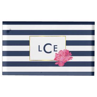 Suportes Para Cartões De Mesas Listra do marinho & suporte cor-de-rosa do cartão