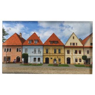 Suportes Para Cartoes De Mesas Praça da cidade velha em Bardejov, Slovakia