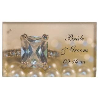 Suportes Para Cartões De Mesas Princesa anel de diamante e pérolas que Wedding