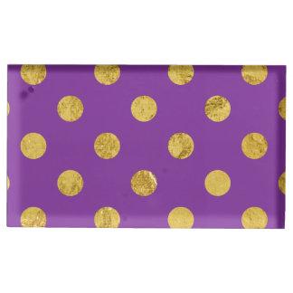 Suportes Para Cartoes De Mesas Teste padrão de bolinhas elegante da folha de ouro