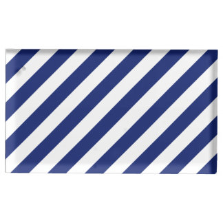 Suportes Para Cartões De Mesas Teste padrão diagonal do azul marinho e o branco