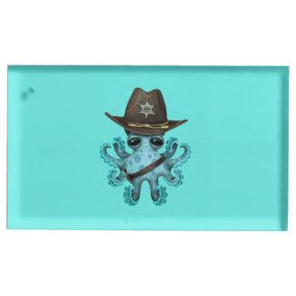 Suportes Para Cartões De Mesas Xerife bonito do polvo do bebê azul