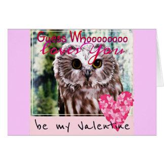 Suposição que o ama cartão dos namorados da coruja