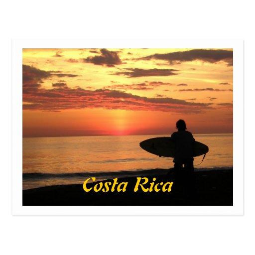 Surf de espera - por do sol domingos, Costa Rica Cartão Postal